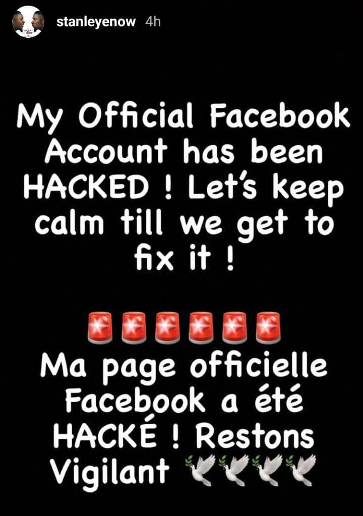 Stanley Enow's Facebook Page hacked!